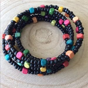 Vintage Wood Bead Bracelet Cuff Boho Coil Wrap